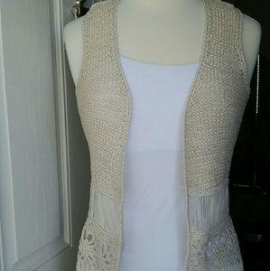 Full Tilt Boho Crochet Cream Vest